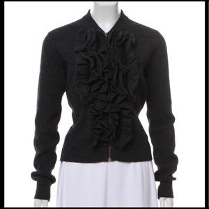 LANVIN CHARCOAL RUFFLE FRONT ZIP CARDIGAN SWEATER